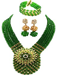 cheap -Women's High End Crystal Beaded Necklace Layered Artisan Moon Ladies Fashion Austria Crystal Earrings Jewelry Red / Green / Champagne For Party