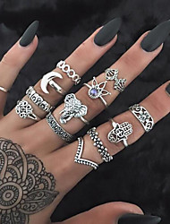 cheap -Women's Band Ring Ring Set Midi Rings 13pcs Gold Silver Rhinestone Alloy Circle Geometric Ladies Unusual Unique Design Daily Street Jewelry Vintage Style Hollow Out Creative Cool