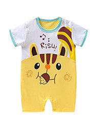 cheap -Baby Boys' Vintage / Active Daily Solid Colored / Patchwork Patchwork Short Sleeves Cotton / Linen Romper Blushing Pink