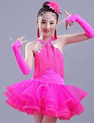 cheap -Latin Dance Dress Tassel Ruching Girls' Performance Sleeveless Spandex Organza