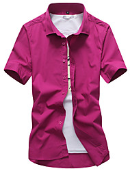 cheap -Men's Work Shirt - Solid Colored Button Down Collar Purple / Short Sleeve