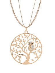 cheap -Women's AAA Cubic Zirconia Pendant Necklace Rope Tree of Life life Tree Ladies Punk Lolita Cute Gypsy Rhinestone Alloy Gold Silver 65 cm Necklace Jewelry 1pc For School Practice