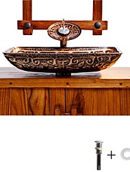 cheap -Bathroom Sink Faucet Suit Contain with Zinc Alloy Bathroom Mounting Ring Antique Tempered Glass Rectangular Vessel Sink and Brass Water Drain