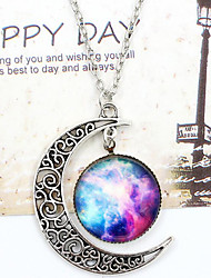 cheap -Women's Pendant Necklace Engraved Moon Galaxy Crescent Moon i love you to the moon and back Cheap Ladies Unique Design European Fashion Synthetic Gemstones Glass Alloy White / Blue Silver-Blue Purple