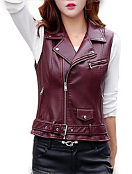 cheap -Women's Daily Short Vest, Solid Colored Peter Pan Collar Sleeveless Polyester Black / Wine / Yellow
