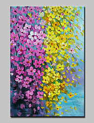 cheap -Mintura® Hand Painted Modern Abstract Knife Red Yellow Flowers Oil Painting on Canvas Wall Art Picture for Home Decor Ready To Hang