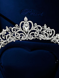 cheap -Women's Tiaras For Wedding Party Homecoming Royalty Beaded Cubic Zirconia Rhinestone Silver Plated Alloy Silver