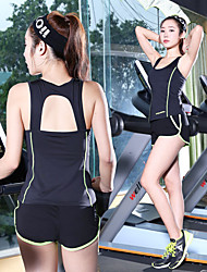 cheap -Women's Open Back Tracksuit Fashion Zumba Running Fitness Shorts Tank Top Clothing Suit Activewear Breathable Quick Dry Sweat-wicking High Elasticity
