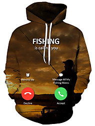 cheap -Men's Plus Size Active / Exaggerated Long Sleeve Loose Hoodie - 3D / Cartoon Print Hooded Brown XXXXL / Fall / Winter