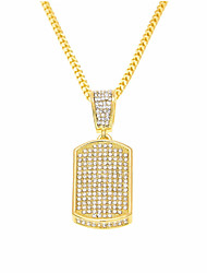cheap -Men's Cubic Zirconia Pendant Necklace Chain Necklace Classic Stylish Creative Precious Stylish Luxury Hip-Hop Hip Hop Rhinestone Alloy Gold Silver 60 cm Necklace Jewelry 1pc For Carnival Street