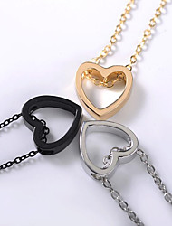 cheap -Women's Pendant Necklace Charm Necklace Single Strand Heart Ladies Trendy Korean Fashion Alloy Gold Black Silver 48 cm Necklace Jewelry 1pc For Daily Street Going out