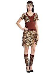 cheap -Primitive Costume Women's Adults Highschool Halloween Halloween Carnival Masquerade Festival / Holiday Polyster Outfits Brown Solid Colored Polka Dot Halloween