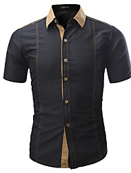 cheap -Men's Daily Basic Shirt - Color Block Blue / Short Sleeve