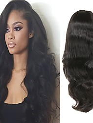 cheap -Human Hair Full Lace Wig Asymmetrical style Peruvian Hair Body Wave Black Wig 130% 150% 180% Density with Baby Hair Odor Free Woven New Arrival Fashion Women's Medium Length Human Hair Lace Wig