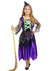 cheap -Witch Costume Girls' Kid's Halloween Halloween Carnival Children's Day Festival / Holiday Polyster Outfits Purple Solid Colored Halloween