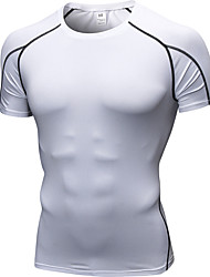 Недорогие -YUERLIAN Муж. Компрессионная футболка Черный Черный / красный Белый Оранжевый Вино Бег Фитнес Тренировка в тренажерном зале Футболка Основной слой С короткими рукавами Спорт Спортивная одежда