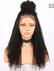cheap -Remy Human Hair Lace Front Wig style Brazilian Hair Jerry Curl Natural Wig 130% Density with Baby Hair Natural Hairline African American Wig Unprocessed Bleached Knots Women's Long Human Hair Lace Wig