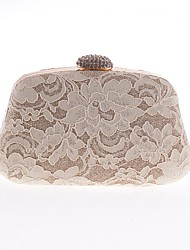 cheap -Women's Bags Polyester Satin Evening Bag Lace Crystals Embroidery Floral Print Wedding Bags Wedding Party Event / Party White Black Blue Almond