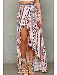 cheap -Women's Daily / Birthday Asymmetrical Trumpet / Mermaid Skirts - Striped High Waist Orange One-Size