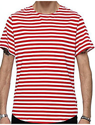 cheap -Men's Daily Cotton / Linen T-shirt - Solid Colored / Striped Round Neck Black / Short Sleeve
