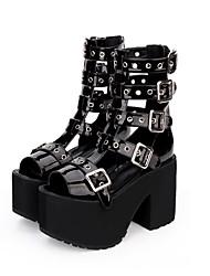 cheap -Women's Lolita Shoes Punk Lolita Punk Wedge Heel Shoes Solid Color 11 cm Black PU(Polyurethane) Halloween Costumes