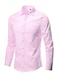 cheap -Men's Solid Colored Shirt Basic Wedding Party Work Wine / White / Black / Blue / Purple / Yellow / Blushing Pink / Army Green