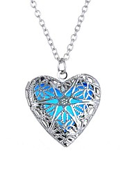 cheap -Women's Luminous Stone Pendant Necklace Long Heart Hollow Heart Ladies Vintage Ethnic Fashion Alloy Blue 61 cm Necklace Jewelry 1pc For Halloween Club