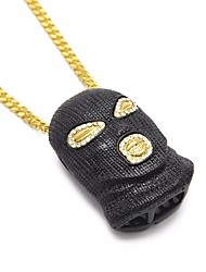 cheap -Men's Cubic Zirconia Pendant Necklace Chain Necklace Hollow Out Cuban Link Creative Head Statement European Hip-Hop Hip Hop Rhinestone Alloy Gold Black Silver 70 cm Necklace Jewelry 1pc For Carnival