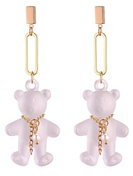 cheap -Women's Drop Earrings Long Bear Ladies Cartoon Ethnic Fashion Earrings Jewelry White / Black For Party Going out 1 Pair