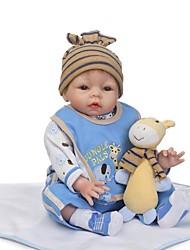 Недорогие -NPKCOLLECTION 24 дюймовый NPK DOLL Куклы реборн Мальчики Reborn Toddler Doll Новорожденный Подарок Искусственная имплантация Коричневые глаза с одеждой и аксессуарами