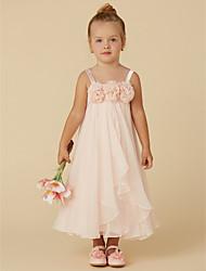 cheap -Sheath / Column Tea Length Pageant Flower Girl Dresses - Chiffon Sleeveless Straps with Flower