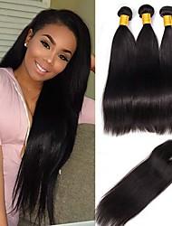 cheap -3 Bundles with Closure Peruvian Hair Straight Human Hair Natural Color Hair Weaves / Hair Bulk One Pack Solution Human Hair Extensions 8-20 inch Natural Human Hair Weaves New Arrival Hot Sale For