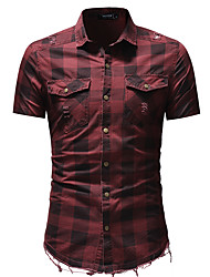 cheap -Men's Daily Basic Shirt - Solid Colored Red / Short Sleeve