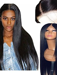 cheap -Synthetic Wig / Synthetic Lace Front Wig Straight Kardashian Style Layered Haircut Lace Front Wig Black Natural Black Dark Brown Synthetic Hair 26 inch Women's Soft / Adjustable / Heat Resistant