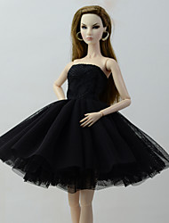 cheap -Doll Dress Dresses For Barbiedoll Black Tulle Lace Cotton Blend Dress For Girl's Doll Toy