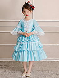 cheap -Princess Sweet Lolita Rococo Dress Party Costume Masquerade Costume Girls' Kid's Costume Blue Vintage Cosplay Half Sleeve Tea Length