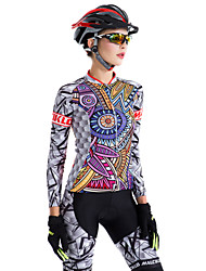 cheap -Malciklo Women's Long Sleeve Cycling Jersey with Tights Purple Plus Size Bike Tights Breathable 3D Pad Moisture Wicking Quick Dry Back Pocket Winter Sports Coolmax® Lycra Patterned Mountain Bike MTB