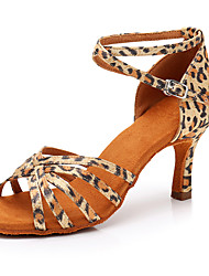cheap -Women's Dance Shoes Satin Latin Shoes Leopard / Buckle Sandal / Heel Slim High Heel Customizable Leopard / Performance