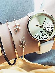 cheap -3pcs Women's Chain Bracelet Leaf Ladies Sweet Fashion Elegant Fiber Bracelet Jewelry Gold For Daily Office & Career