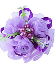 abordables -Fleurs de mariage Petit bouquet de fleurs au poignet Soirée / Fête de Mariage Polyester 0-10 cm