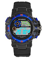 Недорогие -SYNOKE Муж. Спортивные часы электронные часы Японский Цифровой Стеганная ПУ кожа Черный 30 m Защита от влаги Календарь Секундомер Цифровой Мода - Красный Зеленый Синий / Фосфоресцирующий