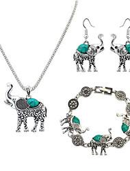 cheap -Women's Charm Bracelet Drop Earrings Pendant Necklace Vintage Style Elephant Ladies Unique Design Vintage Resin Earrings Jewelry Black / Red / Blue For Evening Party Street