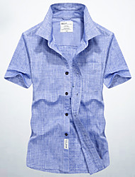 cheap -Men's Daily Basic Cotton Shirt - Solid Colored Blue / Short Sleeve / Summer
