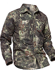 cheap -Men's Camo Hiking Shirt / Button Down Shirts Long Sleeve Outdoor Fast Dry Quick Dry Breathability Wearable Shirt Top Autumn / Fall Spring Cotton Nylon Camouflage Camping / Hiking Hunting Outdoor
