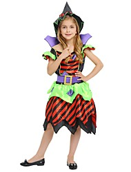 cheap -Witch Costume Girls' Kid's Halloween Halloween Carnival Children's Day Festival / Holiday Polyster Outfits Rainbow Solid Colored Halloween