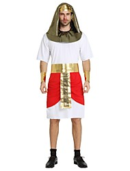 cheap -Egyptian Costume Cleopatra Pharaoh Highschool Men's Ancient Egypt Halloween Costume For Polyster Solid Colored Striped Halloween Halloween Carnival Masquerade Leotard / Onesie Belt Headwear