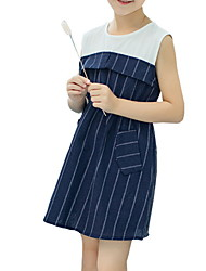 cheap -Kids Girls' Sweet Striped Sleeveless Dress Navy Blue