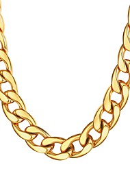cheap -Men's Chain Necklace Thick Chain Mariner Chain Hyperbole Fashion Dubai Hip Hop Stainless Steel Black Gold Silver 55 cm Necklace Jewelry 1pc For Gift Daily