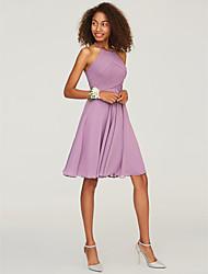 cheap -A-Line Halter Neck Knee Length Chiffon Bridesmaid Dress with Ruffles
