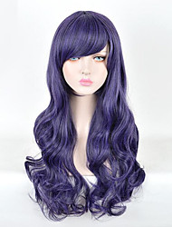 cheap -Cosplay Costume Wig Synthetic Wig Curly Side Part Wig Short Dark Purple Synthetic Hair 28inch Women's Cosplay Party Purple